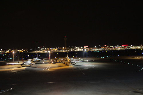 Planes at Haneda Airport during the night