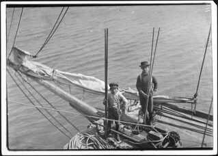 Alfred and Willie, two young oyster fishers in Mobile Bay. A few, but not many of these youngsters are found on the oyster boats. Bayou La Batre, Ala, February 1911