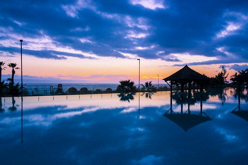 Sunset over infinity pool, Tenerife