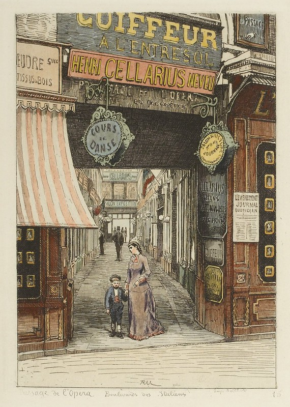 1870s etching of Parisian arcade