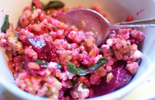 Farro with Beets, Beat Greens and Feta