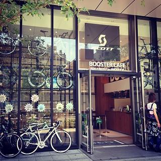 自転車乗りとしてブースターカフェに表敬訪問。