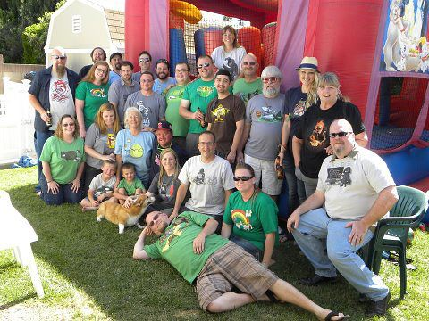 Aaron Lohrbach had a BBQ and forced everyone to wear a woot shirt!