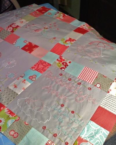 Ruby Bird Baby Quilt Progress