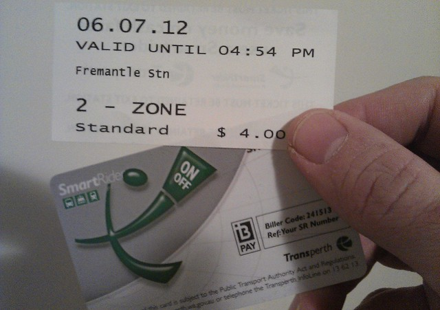 Perth paper ticket and SmartRider