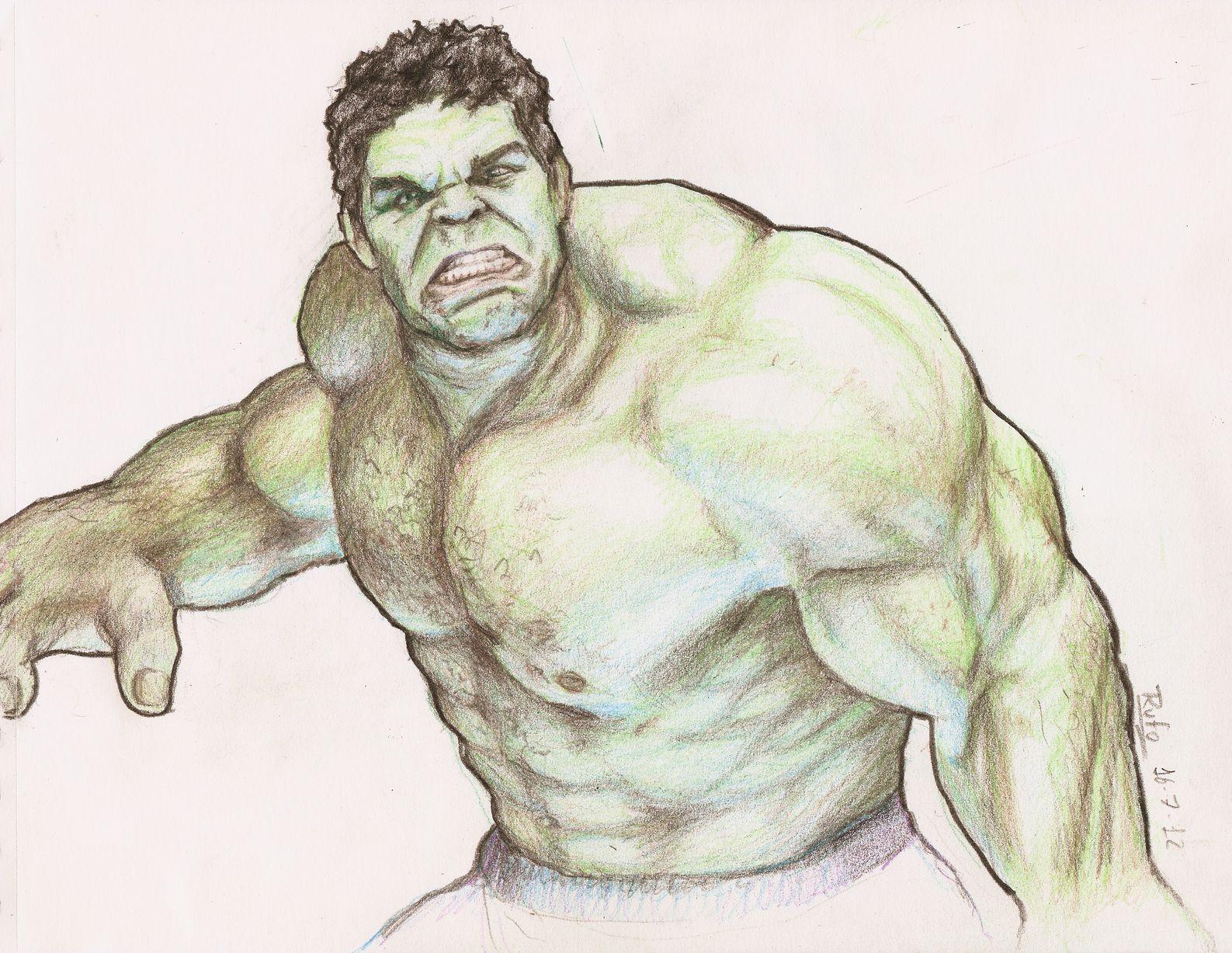 Hulk Para Colorear Facil: Hulk En Dibujo A Lápiz