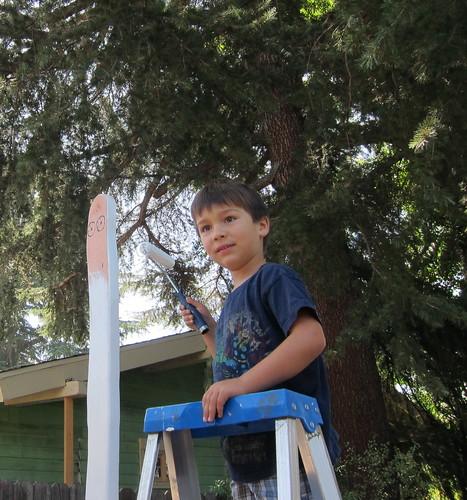 Finn paints up high
