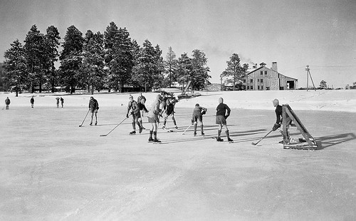 1940 Boys Ranch School hockey on Ashley Pond