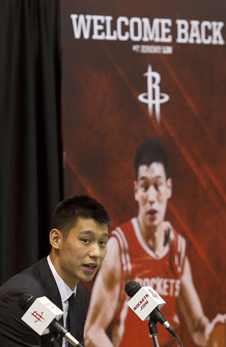 July 19th, 2012 - Jeremy Lin answers questions from the Houston media at Toyota Center at his initial press conference as a Rocket