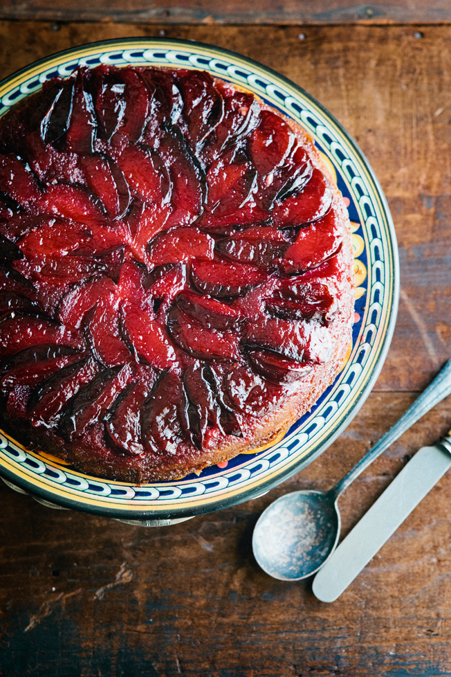 Red Star to Lone Star: Upside Down Plum Cake