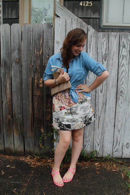 "Chambray and mixed prints outfit: ""Washed chambray buttondown"" from Anthropologie, Dolce Vital sandals, Mixed-print skirt from Anthropologie, sparkly suede clutch, black camisole, Bauble Bar monogram necklace,etc."