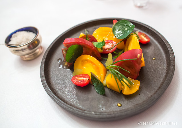 Tomato Salad - Preserved Persimmon Vinaigrette, Pickled Green Tomatoes, Sea Kale