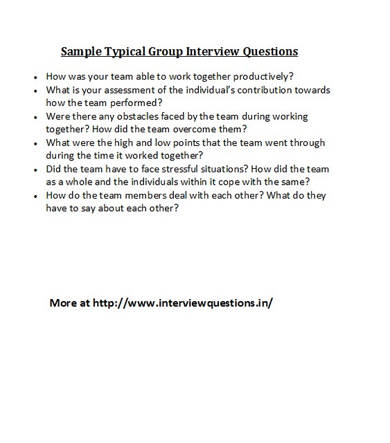 Garden Ridge Interview Questions: Sample Typical Group Interview Questions