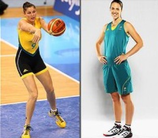 two photos of women in basketball uniforms. The first is a tight single-piece suit, shaped like a steamer wetsuit, sleeveless with short shorts. The second is a loose tank tops and knee-length loose shorts.