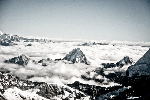 Mount Everest and the Roof of the world, Himalaya, seen from Mountain Flight