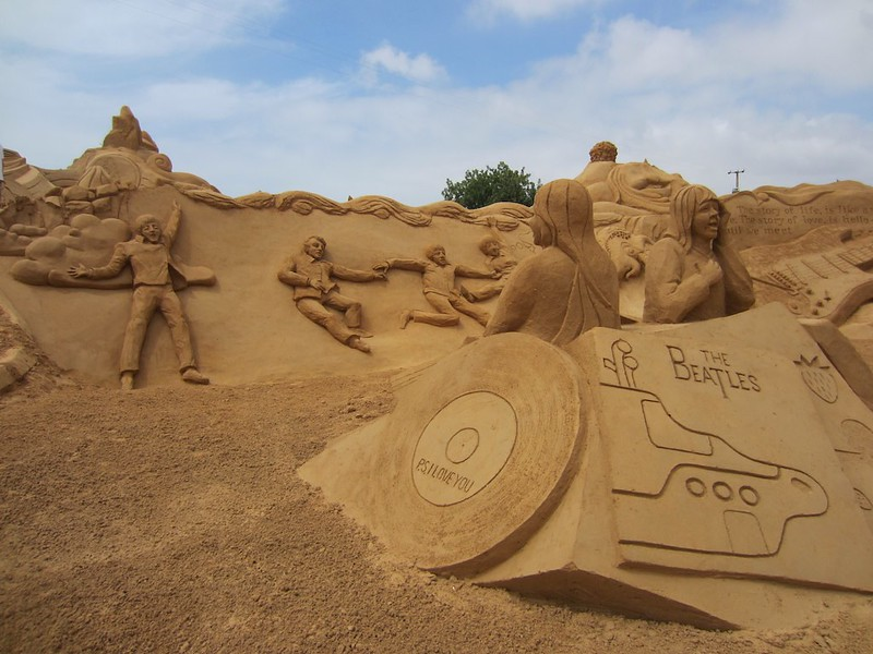 The beatles sand sculpture