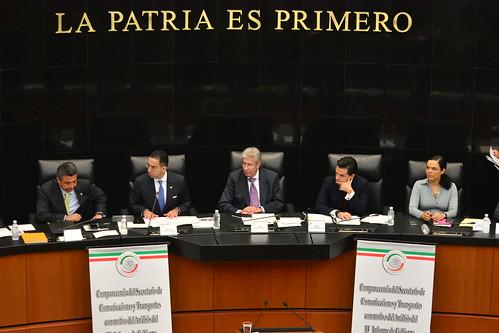 Comisión de Comunicaciones y Transportes. Comparecencia de Gerardo Ruiz Esparza, Secretario de Comunicaciones y Transportes, con motivo del análisis del IV Informe de Gobierno. Salón de Sesiones de la Comisión Permanente 21/09/16