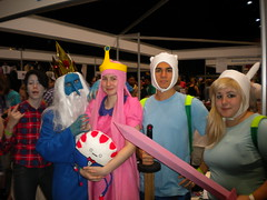 Marshal Lee, Finn, Fionna, Ice King, Princess Bubblegum, and Peppermint butler from Adventure Time