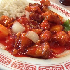 sweet and sour(0.0), produce(0.0), kung pao chicken(1.0), food(1.0), dish(1.0), cuisine(1.0),
