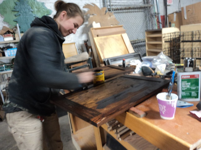 Megan Smiling and Staining
