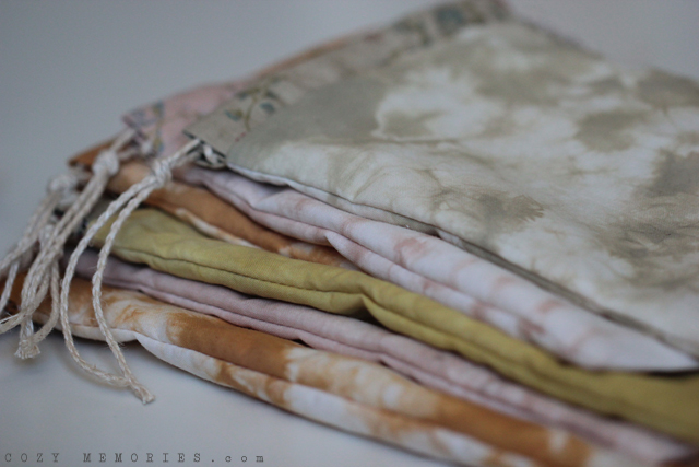 naturally tie-dyed pouches