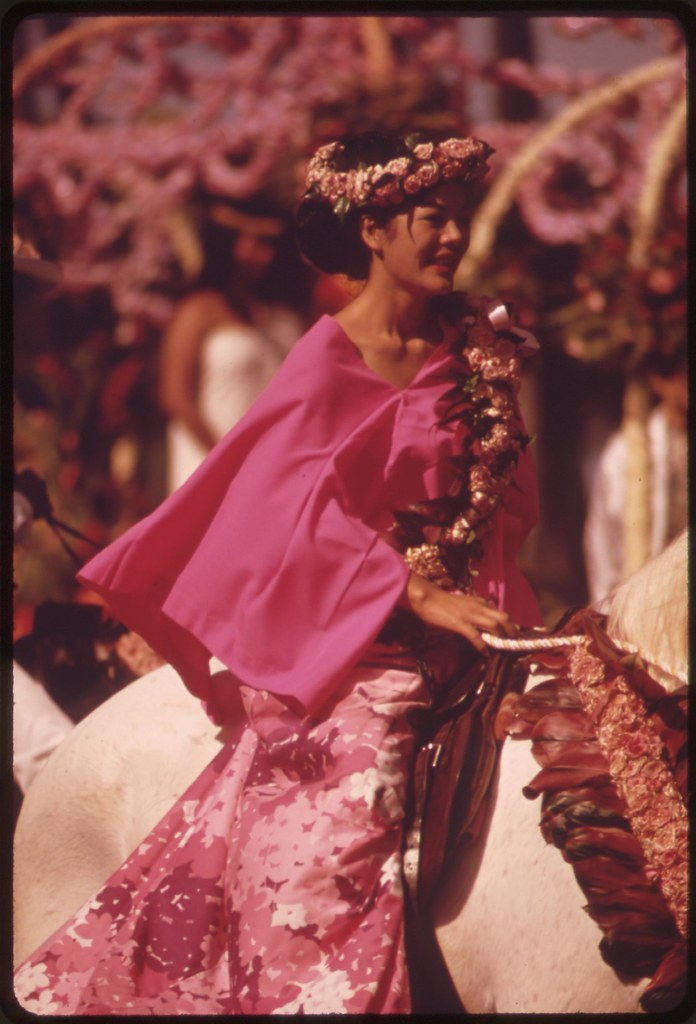 Costumed for Aloha Day parade, one of many festivities during annual Aloha Week, October 1973