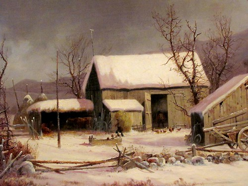 christmas morning winter portrait sky cold art chickens water weather barn rural painting print landscape virginia inn feeding connecticut country rustic scenic warmth overcast richmond well canvas oil americana bleak hay activity pitchfork sleigh picturesque livestock bucolic vmfa lithographic currierives virginiamuseumoffinearts georgehenrydurrie
