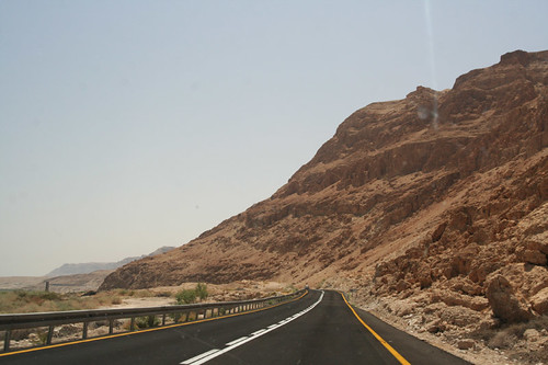 on the road in the West Bank