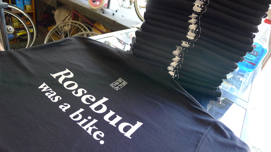 Rosebud was a bike and we have the shirts to let them know!