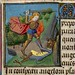 St. Michael trodding on the Devil.France 15th cent. art Maitre Francois. Houghton Lib.