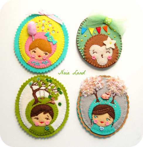 Broches camafeos de fieltro