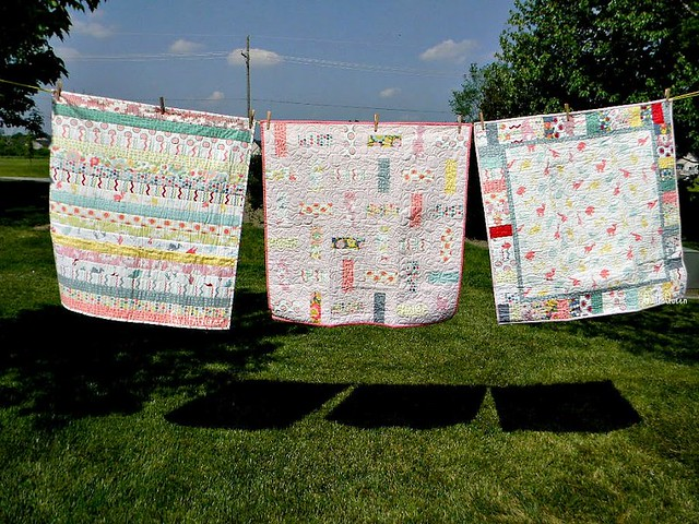 3 Hullabalou quilts on the line