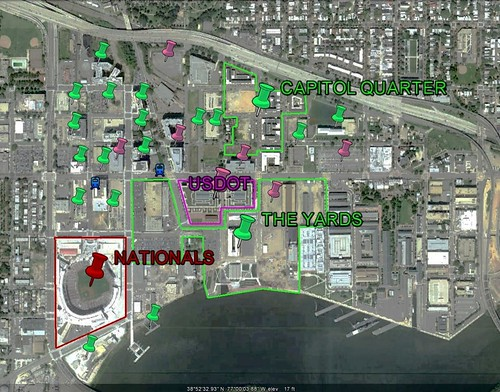 development locations near Nationals Park, DC (via Google Earth)