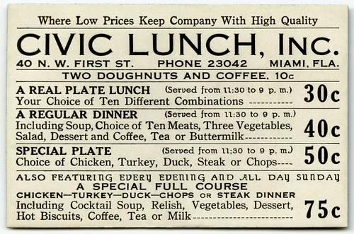 Civic Lunch, Miami, Florida, 1930s