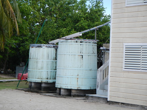 Traditional wooden rain water collection tanks