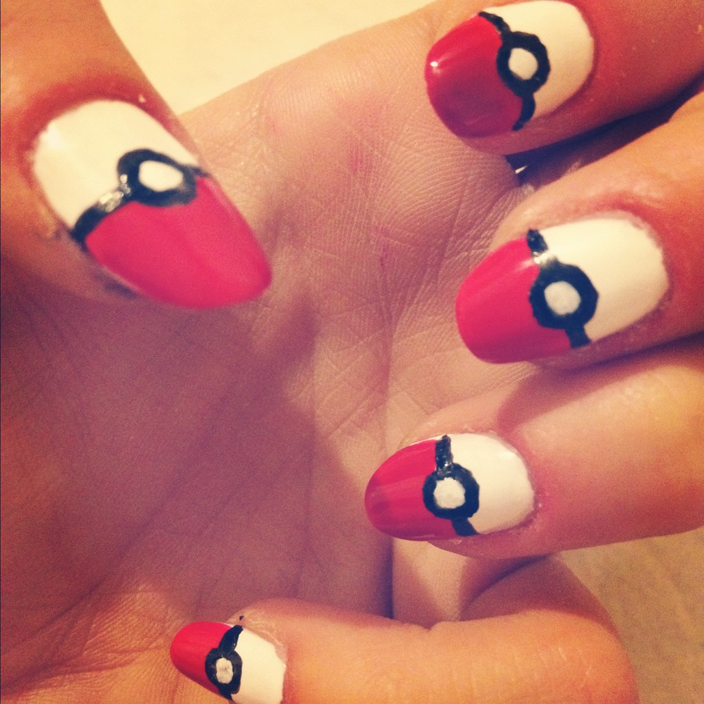 essie blanc, essie really red, sally hansen black nail pen pokeball nail manicure tutorial, pokemon nails, pokeball nail polish, nail art, pokemon nail art