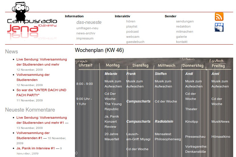 Website of Campusradio Jena