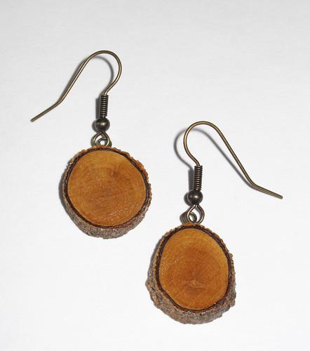 Wood EarringsAntique Brass Wood Earrings