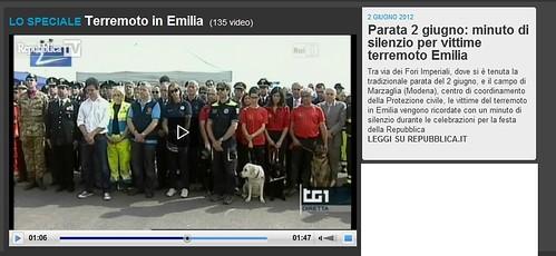 ITALIA - EMERGENZA EMILIA & TERREMOTO SISMA EMILIA: Parata 2 giugno: minuto di silenzio per vittime terremoto Emilia. LA REPUBBLICA (02/06/2012). VIDEO 01:47.