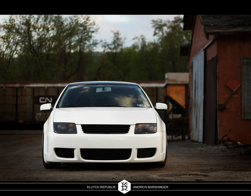 white mk4 golf with bora R nose, shaved, low.