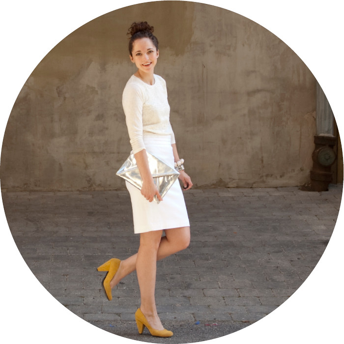 dash dot dotty, ootd, all white outfit, summer whites, white pencil skirt, j.crew lace shirt, yellow heels, envelope clutch