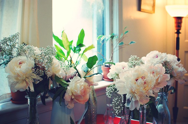peonies in kitchen