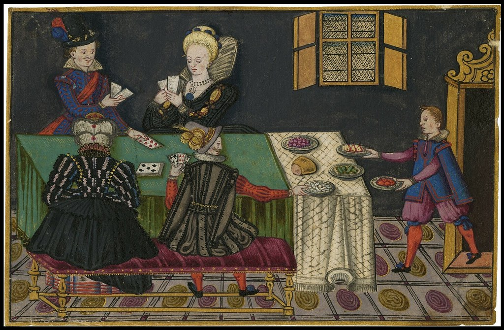 Jacobean era card game scene