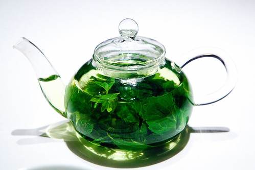 Garden herb tisane: Mint, lemon balm, chamomile, lemon verbena