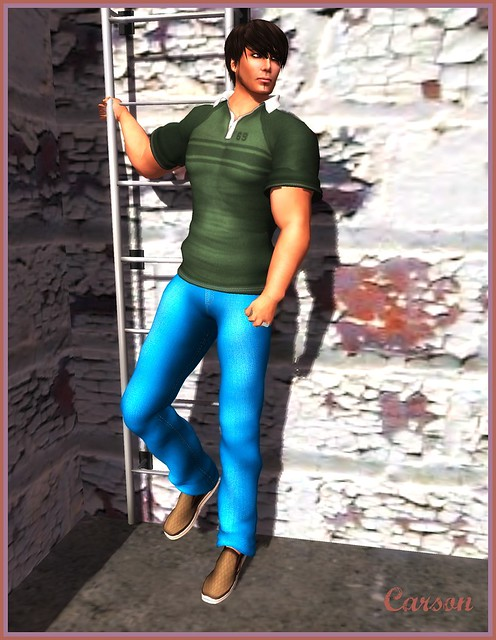 Ducknipple - Green Polo, SS Spearsong - Mesh Neon Blue Jeans, Sartoria - Travellers Sneakers