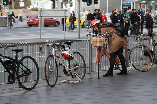 Bikes outside Flinders Street Station