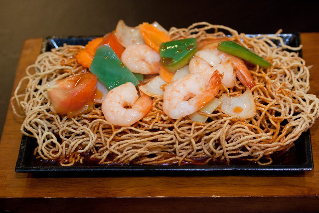 Sizzling Crispy Noodles with Jumbo Prawns
