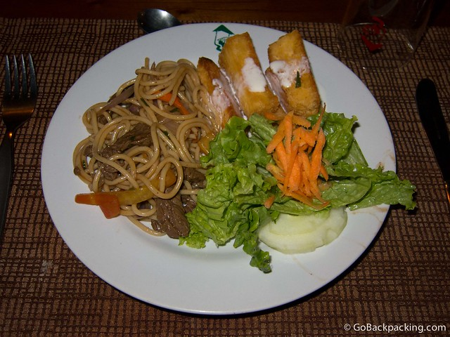 An Asia-inspired steak and noodle dish