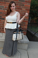 Maxi peplum outfit: striped jersey maxi skirt, metal leopard sandals, peplus pointe tank, vintage Moschino belt, etc.