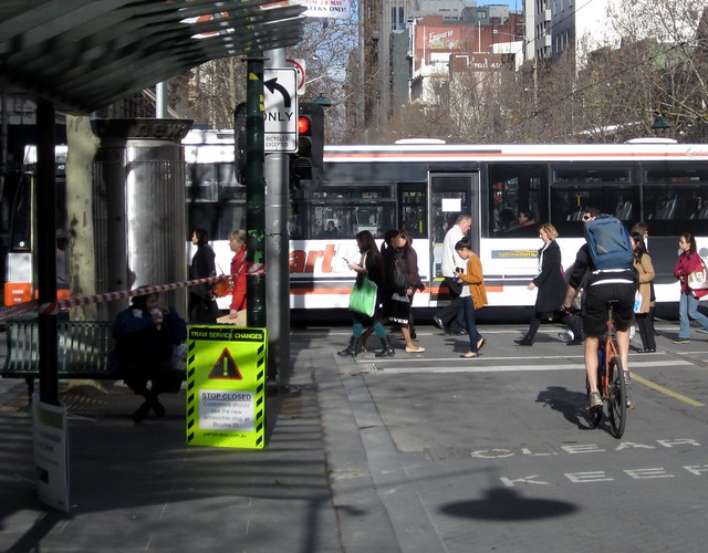 Swanston Street: no more tram stop at Lonsdale Street
